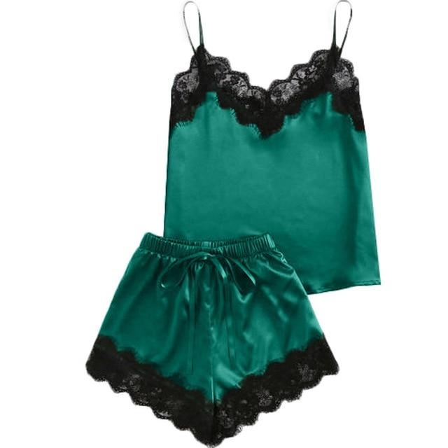 Sexy Sleepwear Satin - Lingerie SexWeLove ™ Green / L Online Adult Shop & Sexy Lingerie Sexwelove