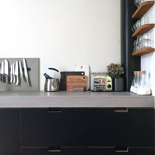 Kitchen cabinets, desks and a play table | Plywood + Formica ...