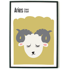 About Grapics Horoscope framed poster for kids star sign Aries