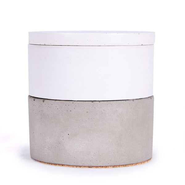 Culinarium stacking concrete pots white and grey