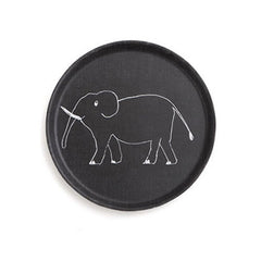 Kids black round elephant tray | Fog Linen at Between Dog and Wolf