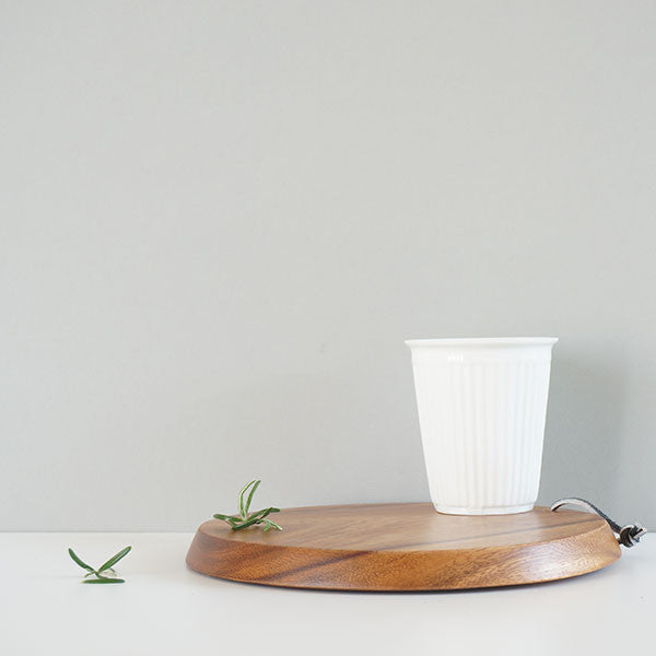 Hanging round acacia wooden chopping board | Fog Linen