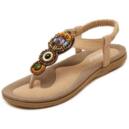 Bohemia Rhinestone Bead Beach Sandals Elastic Slip On Flat Sandals