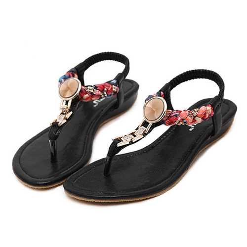 US Size 5-10 Women Summer Flat Soft Casual Beach Bohemian Comfortable Fashion Sandals Shoes