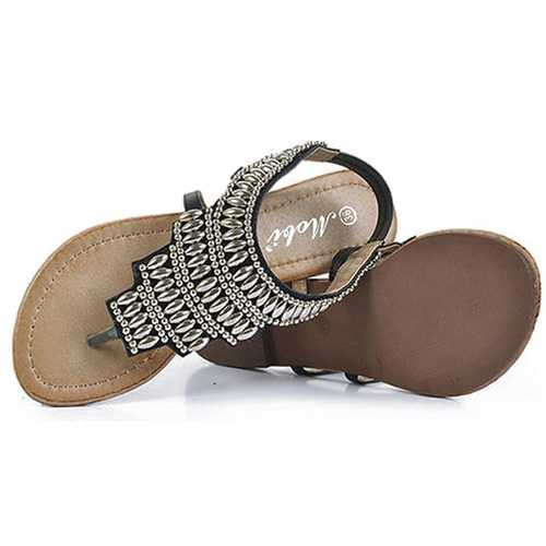 Bohemia Beaded Retro Vintage Beach Sandals Peep Toe Slip On Flat Sandals