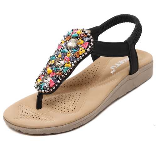 Beading Bohemia Elastic Slip On Beach Flat Sandals