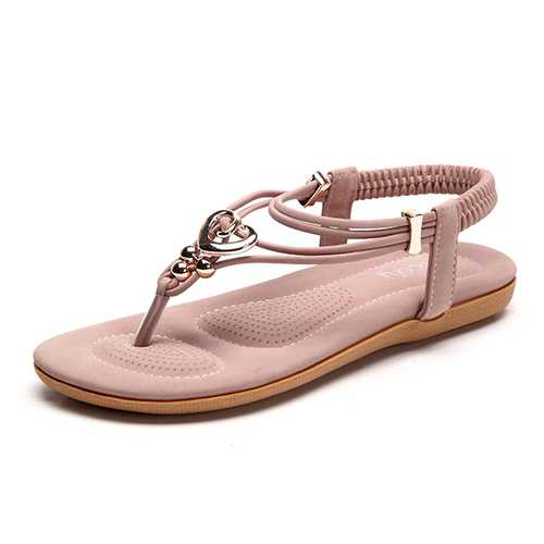 US Size 5-10 Women Bohemian Beach Soft Clip Toe Flats Sandals