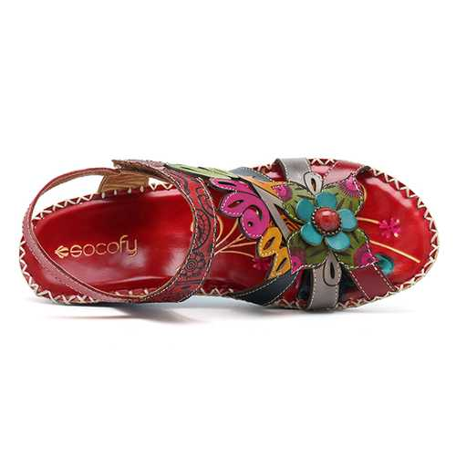 SOCOFY Genuine Leather Handmade Soft Sandals