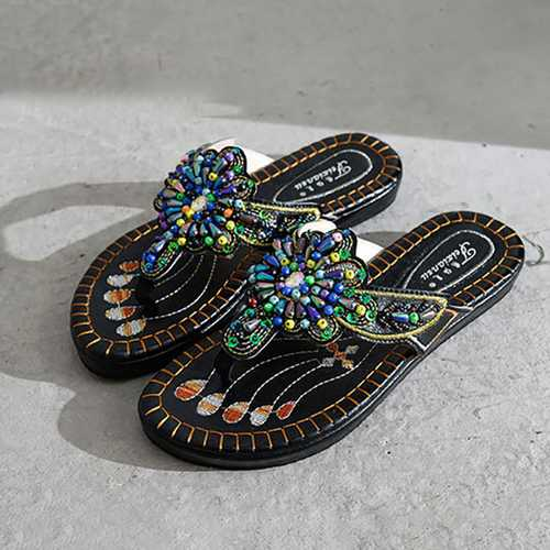 Handmade Embroidery Flat Sandals Beach Slipper Shoes