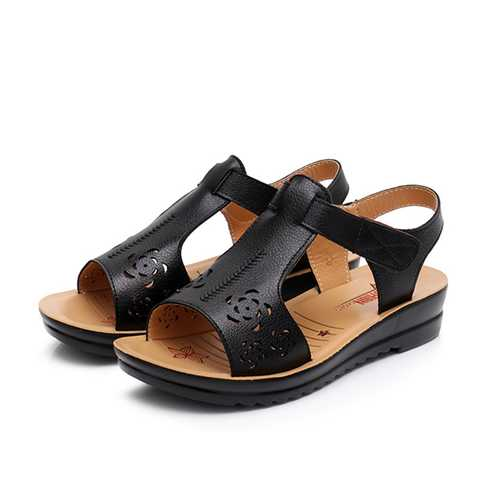 Hollow Adjustable Hook Loop Causal Flat Sandals