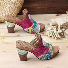 SOCOFY Snake Veins Pattern Genuine Leather Heeled Sandals