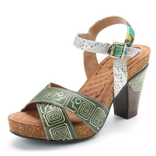 SOCOFY Genuine Leather Buckle Square Heel Sandals
