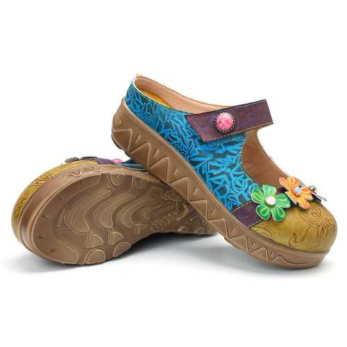 SOCOFY Original Flower Genuine Leather Retro Sandals