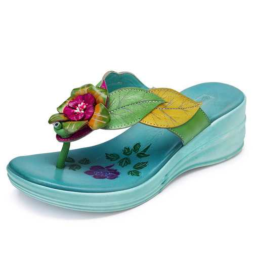SOCOFY Genuine Leather Handmade Floral Casual Sandals