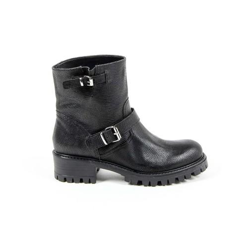 V 1969 Italia Womens Short Boot B1441 VITELLO STAMPATO NERO