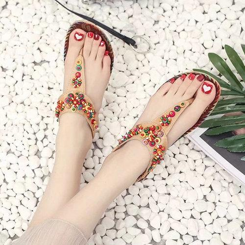 Flowers Splice Flat Summer Sandals