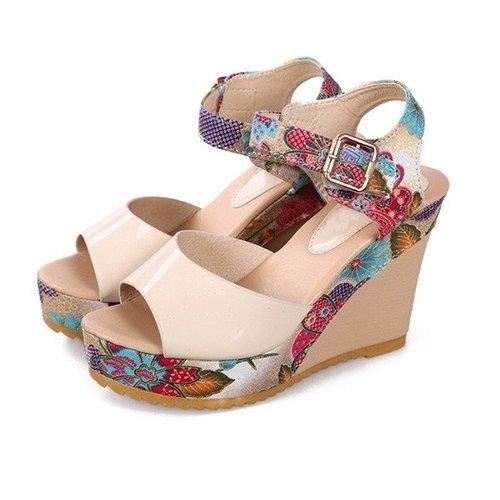 Floral Colorful Buckle Fish Mouth Platform Sandals