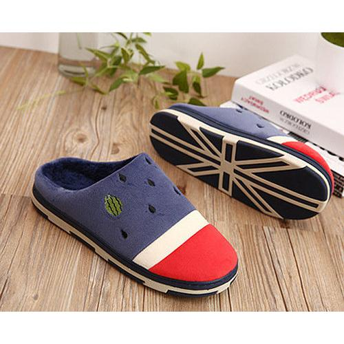 Men Watermelon Color Matching Slip On Indoor Flat Home Shoes