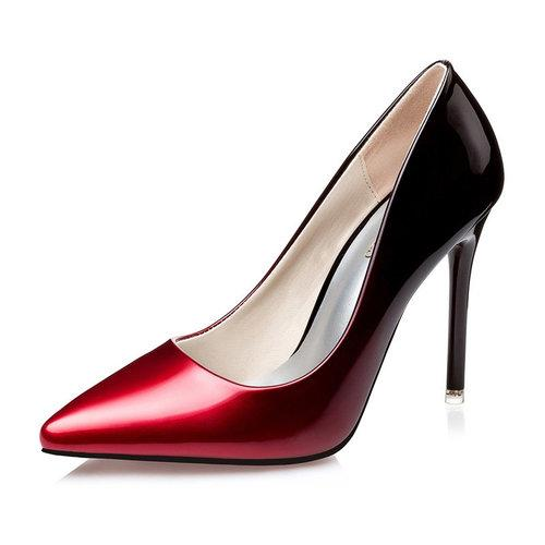 Color Blocking Pointed Toe High Heel Lady Pumps Stilettos