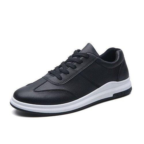 Men Pure Color Flat Skateboarding Shoes Lace Up Casual Trainers