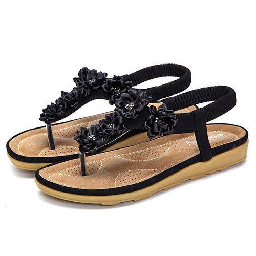 SOCOFY Flower Pure Color Slip On Flat Beach Sandals