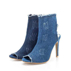 Denim Peep Toe Lady Pumps