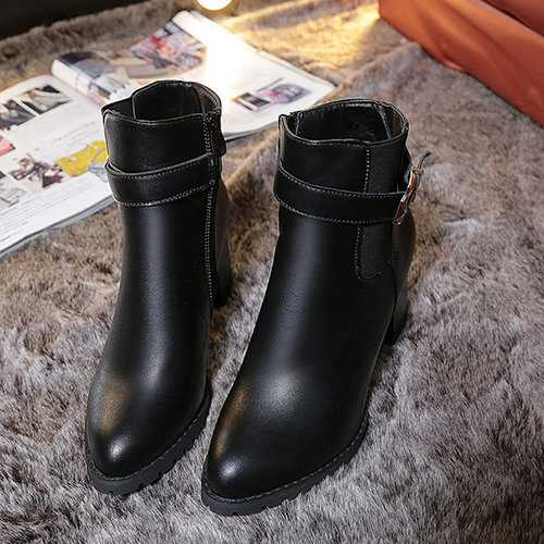 Sexy Square Heel Buckle Solid Color Pointed Toe Zipper Boots For Women