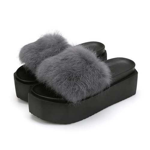 Fur Soft Platform Slippers
