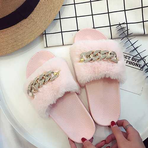 Metal Decoration Slippers For Women