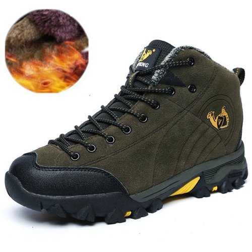 Men Suede Plush Lining Outdoor Hiking Shoes