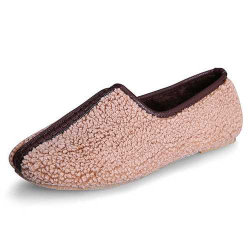 Plus Size Short Plush Slip on Flat Loafers
