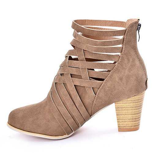 Hollow High Heel Ankle Boots For Women