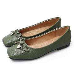 Love Pendant Soft Leather Slip On Bow Flat Loafers For Women