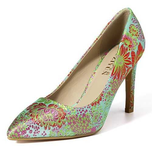 Chinese Style Embroidery High Heels Pumps