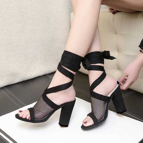 Net Lace Up Sandals Pumps