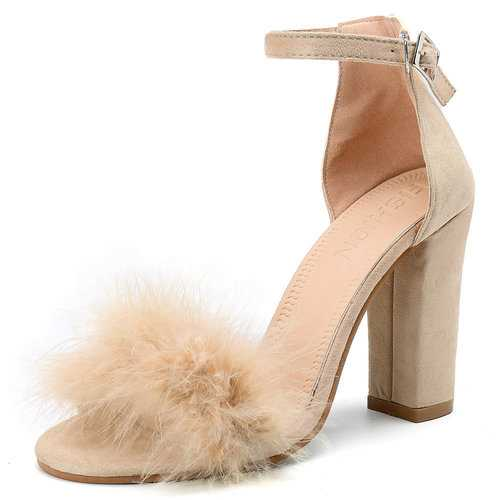Wool Chunky Sandals Pumps