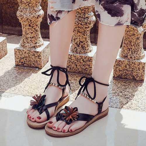 Beaded Flower Clip Toe Bohemia Sandals