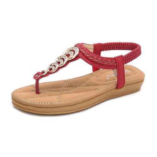 Metal Woven Clip Toe Sandals