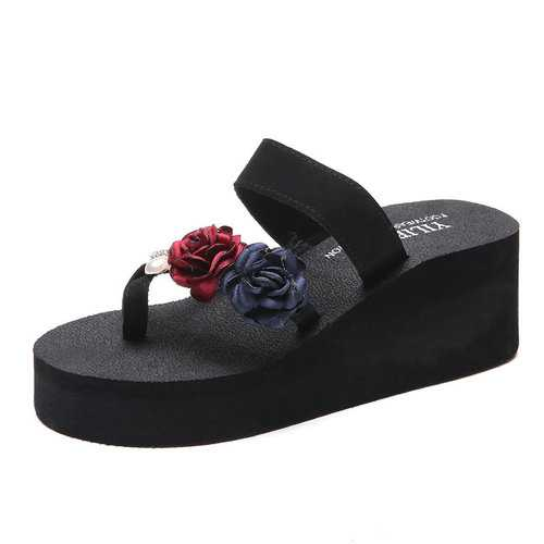 Flower Pearl Platform Beach Slippers