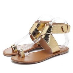 Patent Leather Snakeskin Clip Toe Sandals