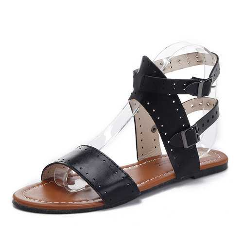 Open Toe Buckle Lady Flat Sandals