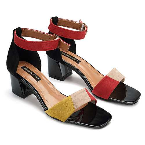 Mixed Color Ankle Strap Sandals Pumps