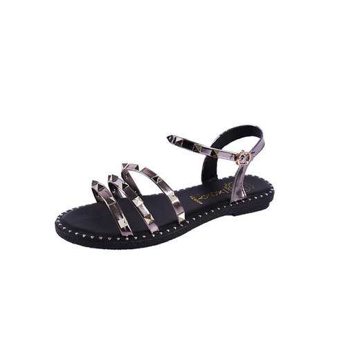 Bling Rivet Open Toe Flat Sandals