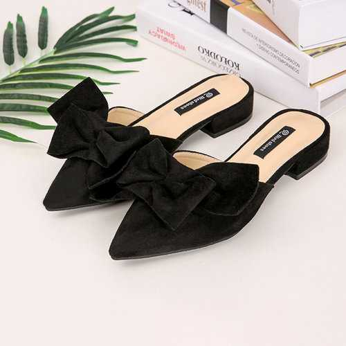 Suede Butterfly Knot Pointed Sandals