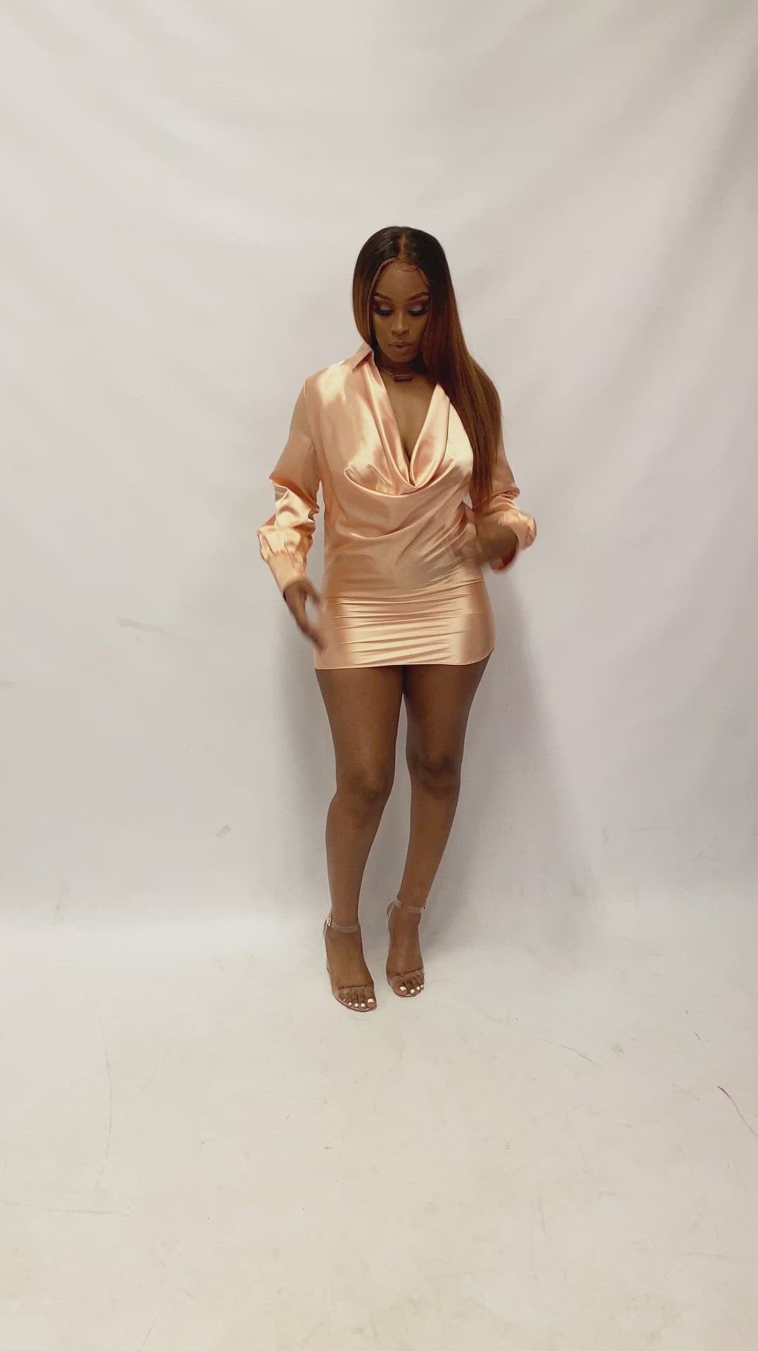 Champagne Cowl Neck Mini Dress