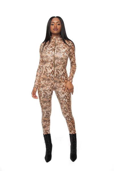 Brown Snakeskin Jumpsuit
