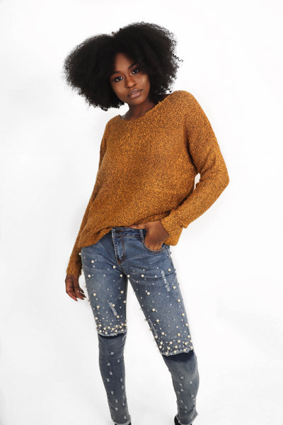 Mustard Speckled Knit Sweater