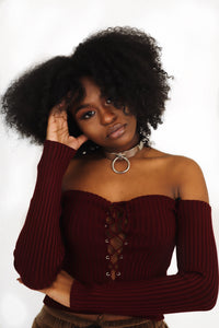 Burgundy Ribbed Lace Up Crop Top