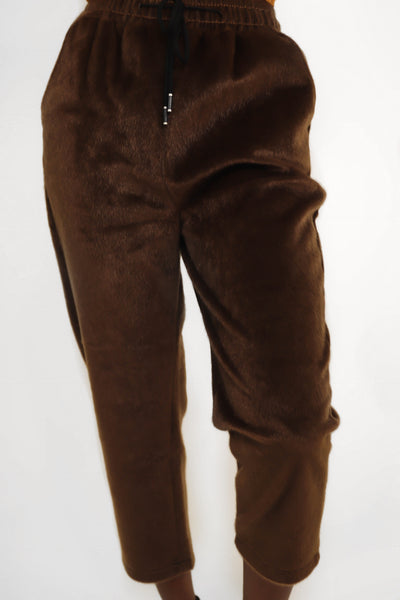 Brown Faux Fur Pants