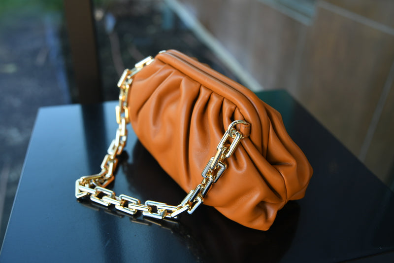 Smooth Vegan Leather Clutch - Camel